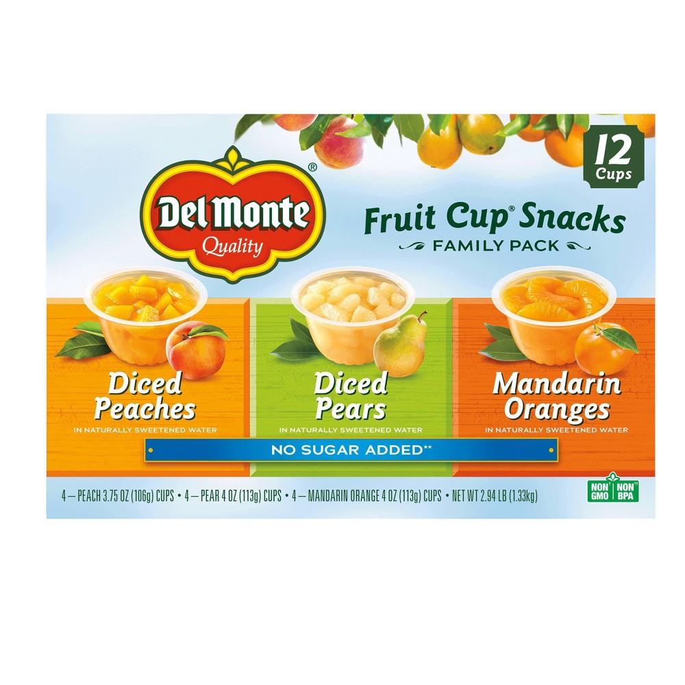 Del Monte Diced Peaches Diced Pears & Mandarin Oranges Fruit Cups - 4oz/12ct