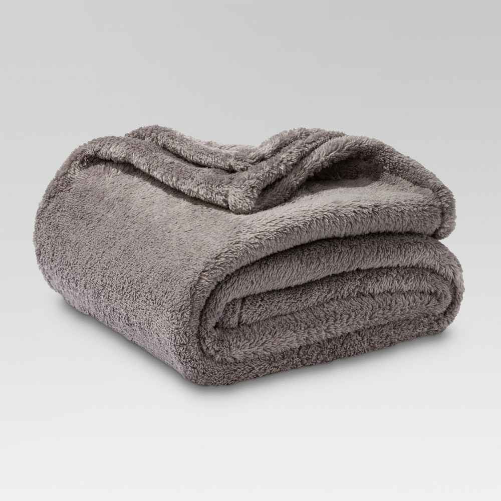 Fuzzy Throw Blanket Gray - Threshold