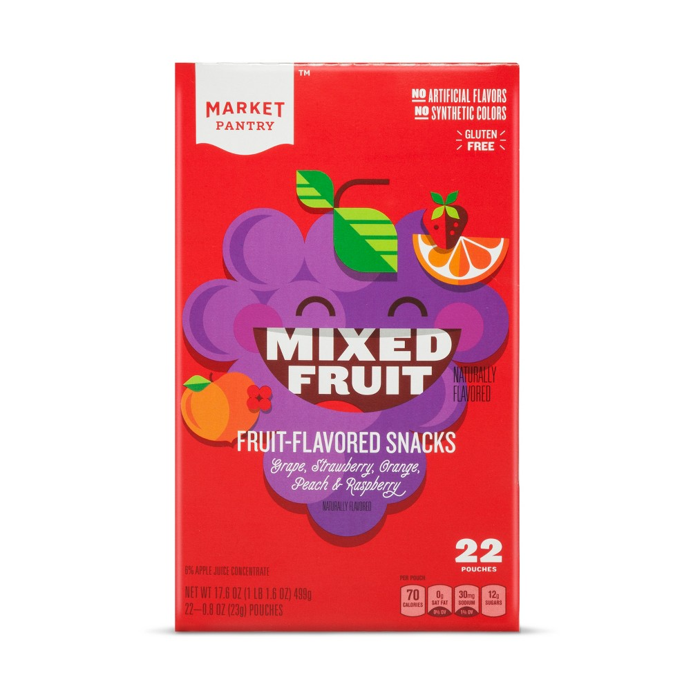 Mixed Fruit Flavored Fruit Snacks - 22ct - Market Pantry, Multi-Colored