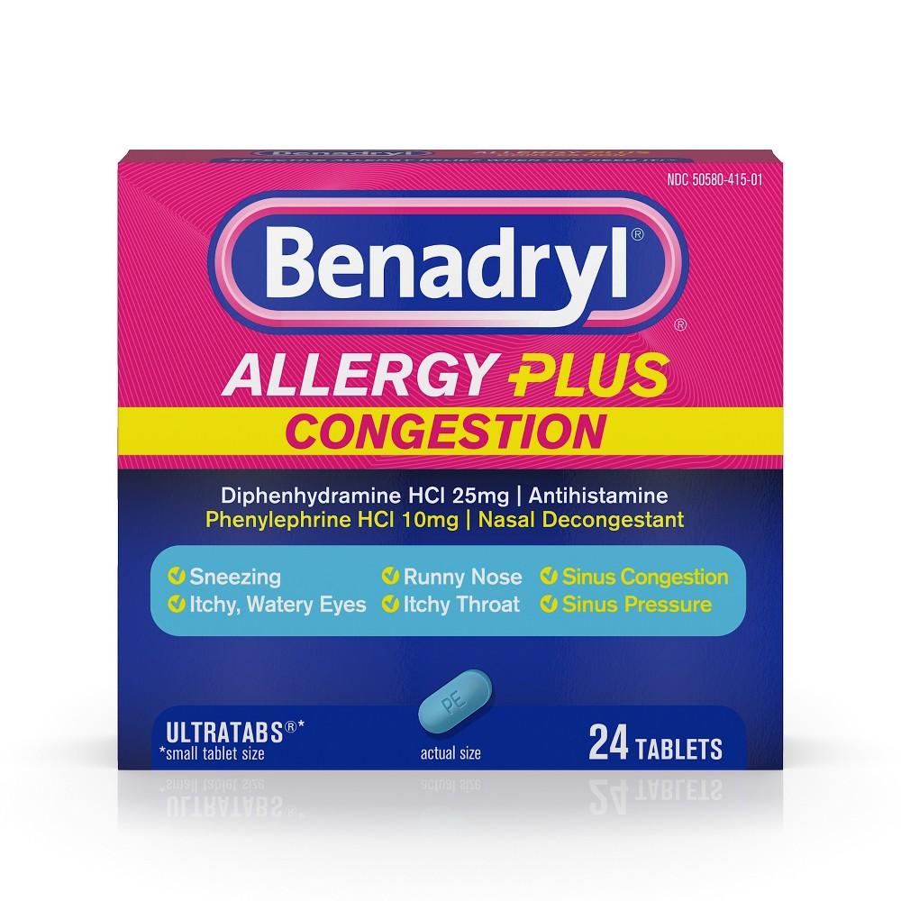 Benadryl Allergy Plus Congestion Ultratabs Allergy Relief Tablets - Diphenhydramine Hci - 24ct
